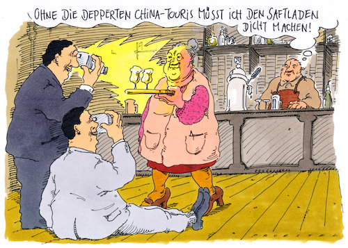 Cartoon: touris (medium) by Andreas Prüstel tagged tourismus,chinesen,kneipe,cartoon,karikatur,andreas,pruestel,tourismus,chinesen,kneipe,cartoon,karikatur,andreas,pruestel
