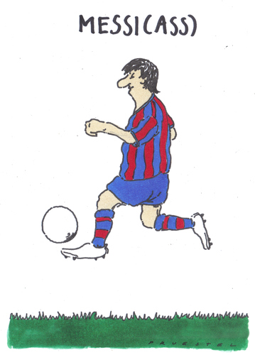 Cartoon: überirdisch (medium) by Andreas Prüstel tagged messi,fcbarcelona,fussball,genialität,messias,ass,messi,fc barcelona,fussball,genialität,messias,ass,fußball,sport,fc,barcelona
