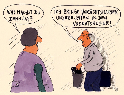 Cartoon: vorratsdaten (medium) by Andreas Prüstel tagged vorratsdatenspeicherung,vorrat,daten,vorratskeller,cartoon,karikatur,andreas,pruestel,vorratsdatenspeicherung,vorrat,daten,vorratskeller,cartoon,karikatur,andreas,pruestel