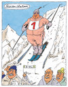 Cartoon: riesenslalom (small) by Andreas Prüstel tagged skisport,slalom,wettkampf,riesenslalom,riese,wintersport,hochgebirge