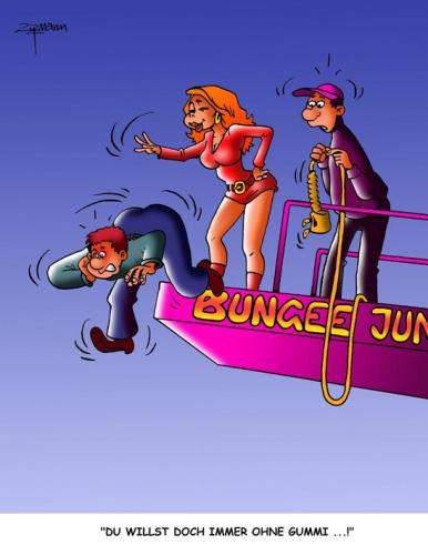 Cartoon: Bungee (medium) by Georg Zitzmann tagged bungeejumping,sports,fun