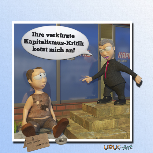Cartoon: Verkürzte Kapitalismuskritik (medium) by uruc-art tagged lustig,satire,kapitalismus,politik,neu,3d,blender