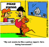 Cartoon: Harrassed (small) by Cartoonist USA tagged cat,police,harrassed,cartoon,comic