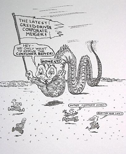 Cartoon: The corporate hydra never sleeps (medium) by Mike Dater tagged dater,inkroom