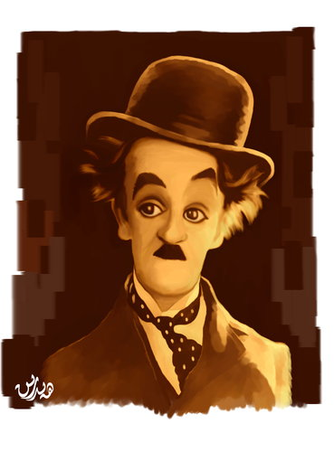 Cartoon: charlie chaplin (medium) by handren khoshnaw tagged khoshnaw,handren