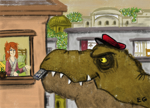 Cartoon: Paperboy (medium) by ernesto guerrero tagged tyranosaurus
