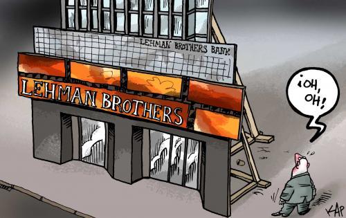 Lehman Brothers Bank bankrupt By kap | Business Cartoon ...
