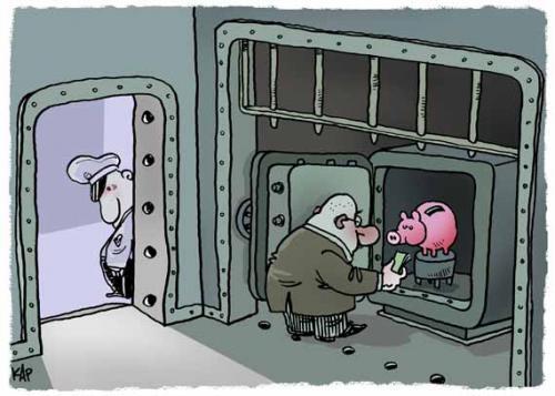 Cartoon: Security bank (medium) by kap tagged money,bank,financial,euros,busines,bank,bänker,chef,boss,tresor,finanzen,geld,finanzierung,geschäft,organisiertesverbrechen,verbrechen,kriminalität,sparschwein,einzahlung,geldgier,gier,sicherheit,schutz