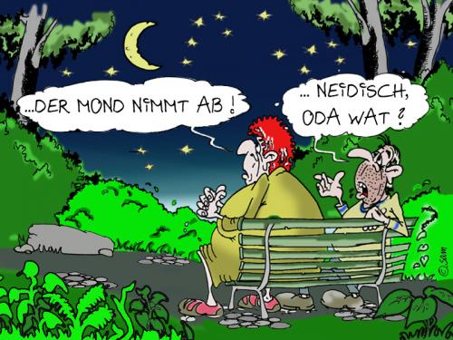Cartoon: der mond nimmt ab (medium) by sam tagged beziehung,bunt,cartoon,character,frau,mann,home,kinder,man,woman