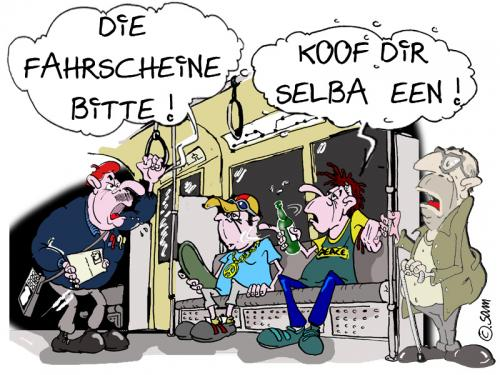 Cartoon: fahrscheinkontrolle (medium) by sam tagged beziehung,mann,frau,bund,character,cartoon,woman,man