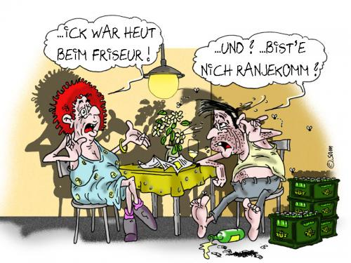 Cartoon: friseur (medium) by sam tagged woman,famielie,ehe,bunt,sam,man,character,cartoon,