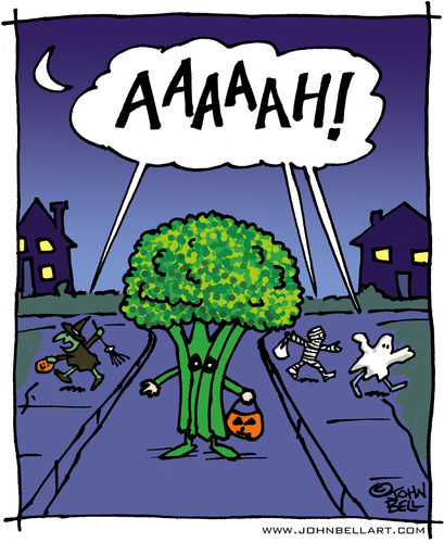 Cartoon: Fear the Broccoli! (medium) by JohnBellArt tagged halloween,costume,children,child,fright,scare,scream,run,dark,night,moon,broccoli,vegetable,ghost,witch,mummy,monster,pumpkin,trick,or,treat
