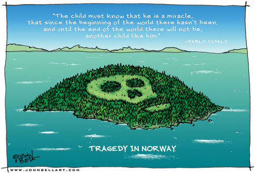 Cartoon: Tragedy in Norway (medium) by JohnBellArt tagged norway,tragedy,terror,death,child,children,camp,guns,murder,sad,horror,evil