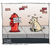 Cartoon: Out of Order (small) by JohnBellArt tagged dog,sign,out,of,order,fire,hydrant,wc,toilet,crapper,poop,turd,shit,pee