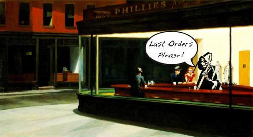 Cartoon: Nighthawks (medium) by Art Holland tagged tod,sensenmann,mr,death,kneipe,edward,hopper