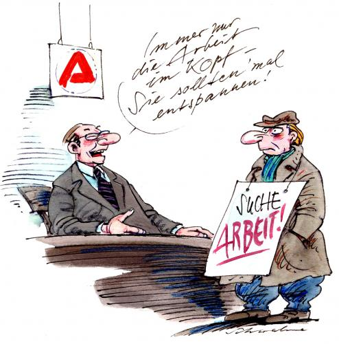 Cartoon arbeit medium by reiner schwalme tagged arbeit arbeitslos
