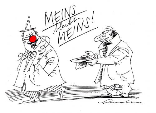 Cartoon: Meins (medium) by Schwalme tagged fasching,karnewal,selbssucht,egoismus