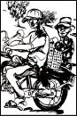 Cartoon: Vietnamise Xe Om mototaxi (small) by yalisanda tagged xe,om,asia,vietnam,mototaxi,woman,old,man,taxidriver,black,ink,drawing