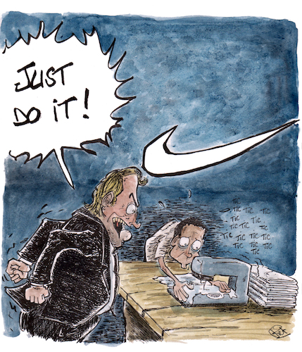 Cartoon: Just do it (medium) by Piet_cartoonist tagged nike,children,work,just,do,it