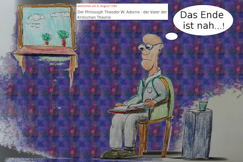 Cartoon: 50 jahre tot (medium) by ab tagged adorno,deutsch,kultur,todestag