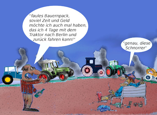 Cartoon: bauernaufstand (medium) by ab tagged bauern,demo,berlin,traktoren,wut