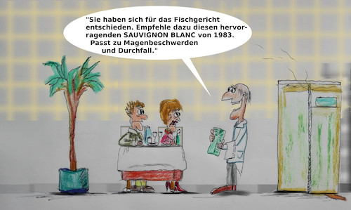 Cartoon: guter sommelier (medium) by ab tagged essen,trinken,gast,restaurant