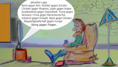 Cartoon: montag (medium) by ab tagged info,tv,nachrichten,news,terror,hass,gewalt,umwelt,auto,zerstörung,menschen,politiker,freiheit,usw