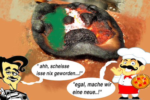 Cartoon: niente problema (medium) by ab tagged italien,regierung,pizza,verbrannt,neue
