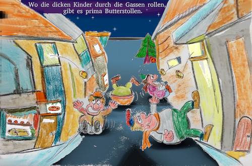 Cartoon: süsse kinder (medium) by ab tagged weihnachten,kinder,essen,stollen,butter,dick,strasse