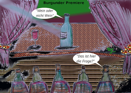 Cartoon: weinprobe (medium) by ab tagged wein,premiere,theater,burgunder