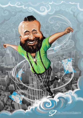 Cartoon: Guy in The Sky (medium) by ionutbucur tagged new,york,cloud