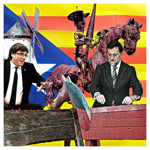 Cartoon: Putsch-Dämon (medium) by Night Owl tagged carles,puigdemont,regierungschef,katalonien,catalunya,mariano,rajoy,spanien,ministerpräsident,unabhängigkeit,separatisten,barcelona,don,quijote,quixote,pferd,gaul,windmühle,reiter