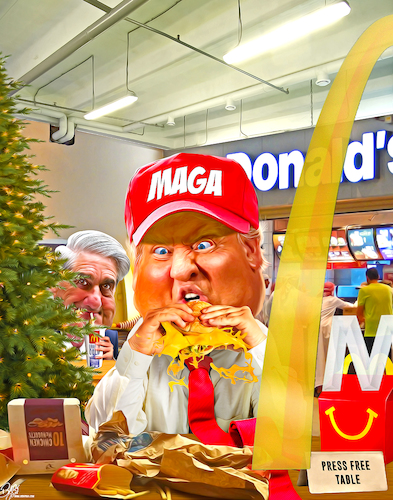 Cartoon: Christmas dinner (medium) by Bart van Leeuwen tagged holidays,trump,mueller,christmas,mcfonalds