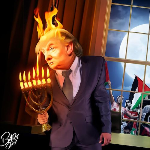 Cartoon: Fat in Fire (medium) by Bart van Leeuwen tagged palestina,trump,jerusalem,israel,alfred,nobel,nobelprize,peace,intifada
