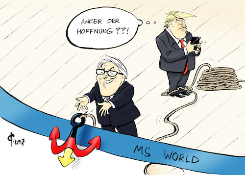 Cartoon: Anker der Hoffnung (medium) by Paolo Calleri tagged deutschland,bundesrepublik,bundespraesidentenwahl,wahl,bundesversammlung,bunderpraesident,frank,walter,steinmeier,rede,anker,hoffnung,welt,mut,usa,donald,trump,populismus,karikatur,cartoon,paolo,calleri,deutschland,bundesrepublik,bundespraesidentenwahl,wahl,bundesversammlung,bunderpraesident,frank,walter,steinmeier,rede,anker,hoffnung,welt,mut,usa,donald,trump,populismus,karikatur,cartoon,paolo,calleri