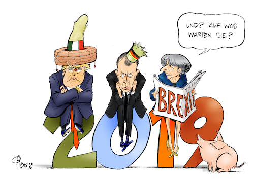 Cartoon: In Erwartung (medium) by Paolo Calleri tagged welt,europa,eu,deutschland,grossbritannien,brexit,mexico,mexiko,mauer,immigration,parteien,cdu,union,friedrich,merz,kanzlerschaft,minister,ministerium,ministerposten,donald,trump,shutdown,milliarden,dollar,mauerbau,theresa,may,ausstieg,deal,zukunft,abkommen,jahreswechsel,2018,2019,karikatur,cartoon,paolo,calleri,welt,europa,eu,deutschland,grossbritannien,brexit,mexico,mexiko,mauer,immigration,parteien,cdu,union,friedrich,merz,kanzlerschaft,minister,ministerium,ministerposten,donald,trump,shutdown,milliarden,dollar,mauerbau,theresa,may,ausstieg,deal,zukunft,abkommen,jahreswechsel,2018,2019,karikatur,cartoon,paolo,calleri