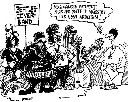 Cartoon: Beatlescover (medium) by RABE tagged beatles,beat,popmusik,popband,lohn,lennon,george,harrison,ringo,starr,paul,mccartney,liverpool,england,single,schallplatte,musik,sixtees,outfit,coverband,gitarre,bass,schlagzeug,heavy,metall,schwermetall,leder,kiss,rabe,ralf,böhme,cartoon,karikatur,plattenvertrag,nieten,elektrogitarre,metalica,led,zeppelin,beatles,beat,popmusik,popband,lohn,lennon,george,harrison,ringo,starr,paul,mccartney,liverpool,england,single,schallplatte,musik,sixtees,outfit,coverband,gitarre,bass,schlagzeug,heavy,metall,schwermetall,leder,kiss,rabe,ralf,böhme,cartoon,karikatur,plattenvertrag,nieten,elektrogitarre,metalica,led,zeppelin