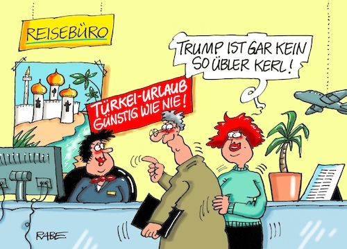 Cartoon: Erdoganurlauber (medium) by RABE tagged trump,präsident,weisses,haus,washington,toilette,klo,klodeckel,sanierung,erneuerung,oval,office,rabe,ralf,böhme,cartoon,karikatur,pressezeichnung,farbcartoon,tagescartoon,erdogan,türkei,lira,banknoten,absturz,stahlzölle,ankara,urlaub,urlauber,reisebüro,türkeiurlaub,günstig,schnäppchen,trump,präsident,weisses,haus,washington,toilette,klo,klodeckel,sanierung,erneuerung,oval,office,rabe,ralf,böhme,cartoon,karikatur,pressezeichnung,farbcartoon,tagescartoon,erdogan,türkei,lira,banknoten,absturz,stahlzölle,ankara,urlaub,urlauber,reisebüro,türkeiurlaub,günstig,schnäppchen