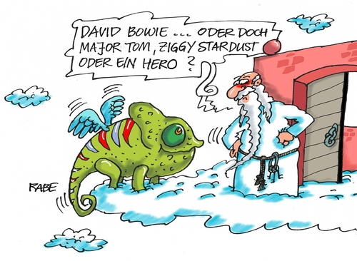 Cartoon: Hero (medium) by RABE tagged chamäleon,himmelstor,petrus,tagescartoon,farbcartoon,pressezeichnung,kariktur,cartoons,böhme,ralf,rabe,tom,major,stardust,ziggy,hero,krebs,bowie,david,david,bowie,krebs,hero,ziggy,stardust,major,tom,rabe,ralf,böhme,cartoons,kariktur,pressezeichnung,farbcartoon,tagescartoon,petrus,himmelstor,chamäleon