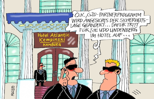 Cartoon: Hotel Atlantic (medium) by RABE tagged hamburg,sturmflut,zwanzig,gipfel,militante,linke,linksextremisten,rabe,ralf,böhme,cartoon,karikatur,pressezeichnung,farbcartoon,tagescartoon,welle,gewalt,innenminister,hotel,kempinski,atlantic,hansestadt,partnerprogramm,melanie,trump,sicherheitslage,krawalle,udo,lindenberg,polizei,polizeichef,straßensperren,bodyguard,hamburg,sturmflut,zwanzig,gipfel,militante,linke,linksextremisten,rabe,ralf,böhme,cartoon,karikatur,pressezeichnung,farbcartoon,tagescartoon,welle,gewalt,innenminister,hotel,kempinski,atlantic,hansestadt,partnerprogramm,melanie,trump,sicherheitslage,krawalle,udo,lindenberg,polizei,polizeichef,straßensperren,bodyguard