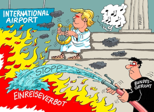 Cartoon: Nero (medium) by RABE tagged trump,präsident,usa,rede,bild,times,strafzoll,autobauer,bmw,rabe,ralf,böhme,cartoon,karikatur,pressezeichnung,farbcartoon,tagescartoon,einreiseverbot,einreisestopp,stopp,bundesgericht,us,international,airport,richter,eilantrag,flughäfen,is,terroristen,muslime,kaiser,nero,rom,lyra,gesang,flammen,brand,brandstifter,feuerwehr,schlauch,löschen,löscheinsatz,trump,präsident,usa,rede,bild,times,strafzoll,autobauer,bmw,rabe,ralf,böhme,cartoon,karikatur,pressezeichnung,farbcartoon,tagescartoon,einreiseverbot,einreisestopp,stopp,bundesgericht,us,international,airport,richter,eilantrag,flughäfen,is,terroristen,muslime,kaiser,nero,rom,lyra,gesang,flammen,brand,brandstifter,feuerwehr,schlauch,löschen,löscheinsatz