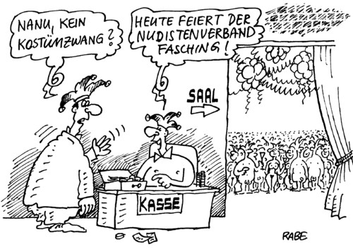 Cartoon: Nudistenfasching (medium) by RABE tagged karneval,fasching,kostümball,nudisten,fkk,freikörperkultur,kostümzwang,kasse,einlaß,euro,narrenkappe,narren,luftschlangen,elferratssitzung,luftballon,konfetti,party,busen,hintern,haut,nackt,nackedei,karneval,fasching,schunkeln,elferrat,festsaal,bühne,elferatssitzung,festakt,schmücken,narren,narrenkappe,verkleidung,verkleiden