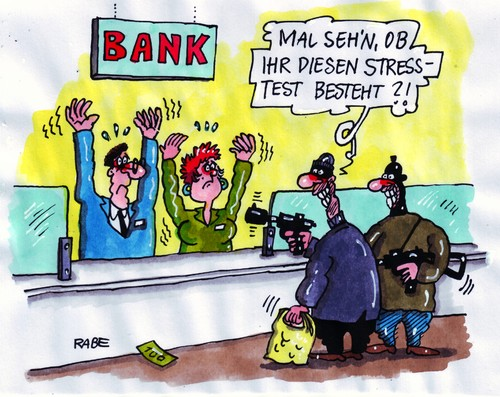 Cartoon: Stresstest (medium) by RABE tagged banken,krise,kreditinstitut,bankschalter,geld,euro,finanzen,banker,bankräuber,pistole,bedrohung,schalldämpfer,maskierung,angst,zittern,tresor,geldschrank,geldbündel,geldautomat,alarmanlage,banken,krise,kreditinstitut,bankschalter,euro,geld,finanzen,banker,bankräuber,pistole