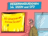 Cartoon: Schaufensterkrankheit (small) by RABE tagged sonderparteitag,spd,martin,schulz,ja,groko,koalitionsverhandlungen,rabe,ralf,böhme,cartoon,karikatur,pressezeichnung,farbcartoon,tagescartoon,merkel,union,koalitionsgespräche,abrissbirne,dekoration,schaufenster,umdekoration,regierungslädchen,kunde,bürger,zielgerade,ergebnis,koalitionspapiere