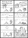 Cartoon: Sandcastle (small) by heyokyay tagged sandcastle,beach,vacation,parents,artist,alone,comic,heyokyay
