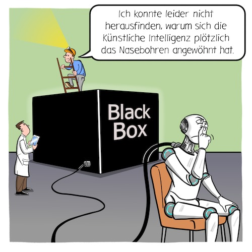 Cartoon: BlackBox-Problem (medium) by CloudScience tagged ki,künstliche,intelligenz,roboter,deep,learning,maschine,maschinelles,lernen,daten,algorithmus,algorithmen,it,big,data,computer,tech,technik,technologie,digital,digitalisierung,blackbox,black,box,neuronales,netz,vernetzung,ki,künstliche,intelligenz,roboter,deep,learning,maschine,maschinelles,lernen,daten,algorithmus,algorithmen,it,big,data,computer,tech,technik,technologie,digital,digitalisierung,blackbox,black,box,neuronales,netz,vernetzung