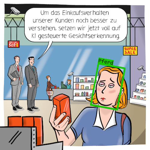 Cartoon: Gesichtserkennung (medium) by CloudScience tagged gesichtserkennung,facial,recognition,ki,omnichannel,kuenstliche,intelligenz,identifizieren,analysieren,marketing,kunde,einkaufen,shopping,shop,kamera,ueberwachung,tech,technologie,technik,zukunft,glaesern,stationaerer,handel,online,internet,digital,digitalisierung,business,wirtschaft,manager,cartoon,illustration,kanaluebergreifend,kundenmanagement,einkaufsverhalten,geschaeft,it,datenschutz,daten,privatssphaere,1984,nsa,gesichtserkennung,facial,recognition,ki,omnichannel,kuenstliche,intelligenz,identifizieren,analysieren,marketing,kunde,einkaufen,shopping,shop,kamera,ueberwachung,tech,technologie,technik,zukunft,glaesern,stationaerer,handel,online,internet,digital,digitalisierung,business,wirtschaft,manager,cartoon,illustration,kanaluebergreifend,kundenmanagement,einkaufsverhalten,geschaeft,it,datenschutz,daten,privatssphaere,1984,nsa
