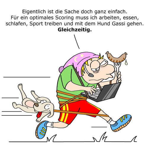 Cartoon: Measurement Maniac (medium) by CloudScience tagged selbstoptimierung,optimierung,multitasking,maniac,measurement,lebenstil,lebenstil,measurement,maniac,multitasking,optimierung,selbstoptimierung,gleichzeitig,alles,hund,essen,wurst,laufen,laptop,rennen,stress