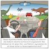 Cartoon: AR Head-UP-Display (small) by CloudScience tagged digitalisierung,digital,auto,mobilität,mobility,hud,connected,car,verkehr,interface,mobil,zukunft,pokemon,go,jurassic,world,sammeln,spiel,technik,technologie,windschutzscheibe,display,anzeige,daten,informationen,vernetzung,smart,ki,iot,internet,der,dinge,of,things,cartoon,techtoon,moeller