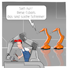 Cartoon: Cobots (small) by CloudScience tagged cobots,robots,roboter,cobot,robot,automation,automatisierung,fabrik,fertigung,industrie,industrie40,smart,ki,intelligenz,produktion,digitalisierung,digital,factory,iot,daten,roboterarm,kuka,it,technik,technologie,tech,zukunft,trend,wirtschaft,business,disruption,innovation,hm19,hannover,messe,vernetzung,mensch,maschine,kollaboration,zusammenarbeit,m2m,mmi,hci,interaktion